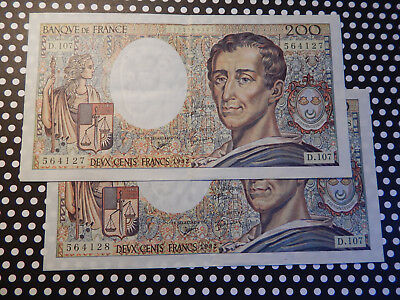 1992 Consecutive 200 Franc French notes (2) - Sequential - MONTESQUIEU