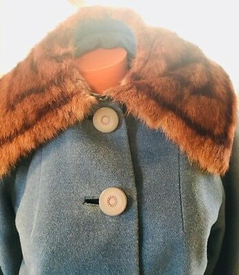 Vintage 1940's Wool Fully Lined Hand Tailored Fur Collar Stroller Coat