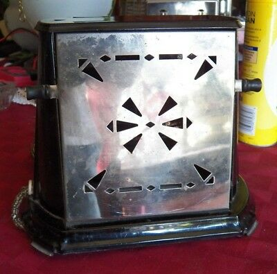 Antique Toaster, Electric, Sterling, 2 Slice Manual Toaster, With Wood Knobs