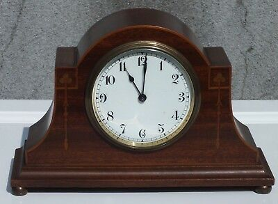 Inlaid mantel clock. 8 day winding platform movement. GWO. early 1900's