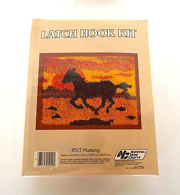 Sealed 1982 National Yarn Crafts Vintage Latch Hook Kit R517 Mustang Horse 20X27