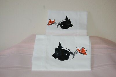 Boston Terrier, hand painted, Std pillow cases;, cotton fabric