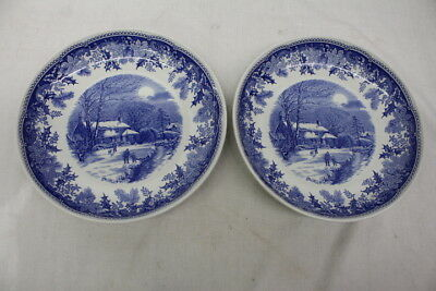 "Pair of 2 Spode WINTER'S EVE BLUE & White #S3755-A6 10"" Individual Pasta Bowls"
