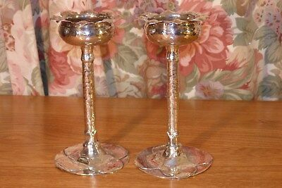 "A Pair Of Antique "" Arts & Crafts "" Hand Wrought "" Sterling Silver Vases 1902"