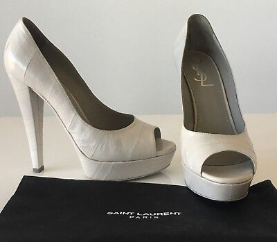 fae2876ff1c YVES SAINT LAURENT Light Gray Eel Skin Peeptoe High Heel Pumps Sz 38 EUC