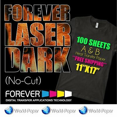 "Forever-Laser-Dark-No-Cut-A-amp-B-Heat-Transfer-Paper 11""x17"" 100 sheets"
