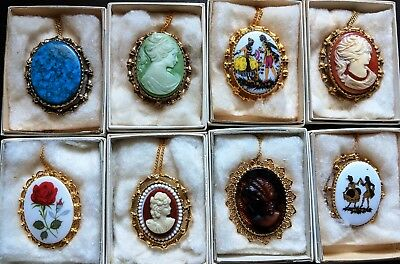 Lot of 8 Great Quality Vintage Cameo Brooch Pendant Necklace Lady head NOS