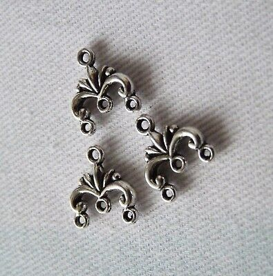 10x Chandelier Earring Findings 3 Hole Small Bead Connector Charms for Bracelets
