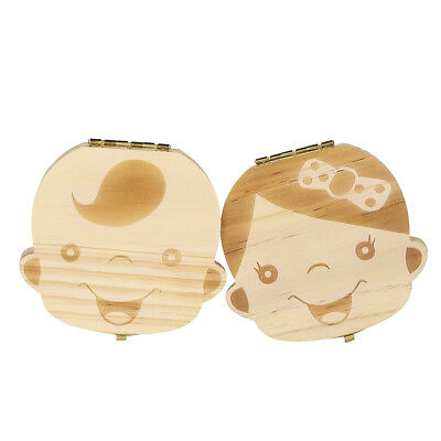 Kids Wood Tooth Box Organizer Baby Save Milk Teeth Wood Storage Box For Boy-Girl