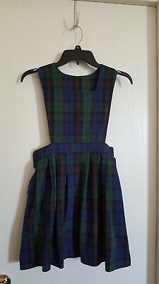 Parker uniform girls blue and green plaid dress size 6 and 1/2