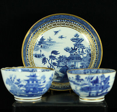 Set 18Th C. Chinese Qianlong Export Porcelain Blue & White Bowl Cup Saucer Plate