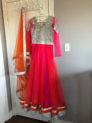 Stitched Floor Length Mirror Anarkali in Magenta and Orange HIGH QUALITY