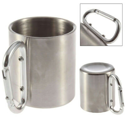 Sport Camping Cup Stainless Steel Metal Hook Carabiner 220ml Outdoor Double Wall