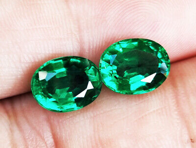 1PC. 9x7mm. EXCELLENT CUT! BRILLIANT OVAL LAB BIRON GREEN EMERALD LOOSE GEM AAA+
