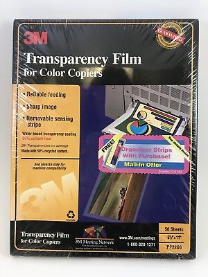 """3M Transparency Film for Color Copiers 50 Sheets 8.5""""x11"""" PP2260 New Sealed"""