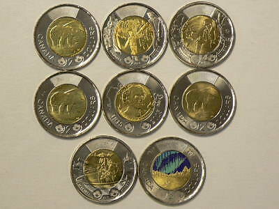 2014 to 2017 Canada $2  Lot of 8 Uncirculated Coins No Duplicates  #G505