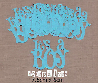 Scrapbooking Words Baby - ITS A BOY - Embellishments Phrase Die Cuts x 8