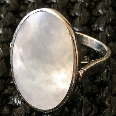 Vintage Danish Pandora Sterling Silver Ring with Mother-of-Pearl Stone