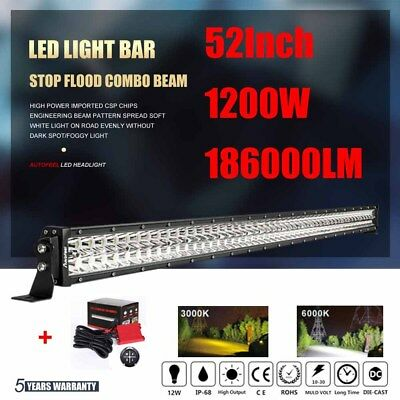 CREE 52 Inch 1200W LED Light Bar Offroad Combo Spot Flood Work SUV FOR JEEP FORD