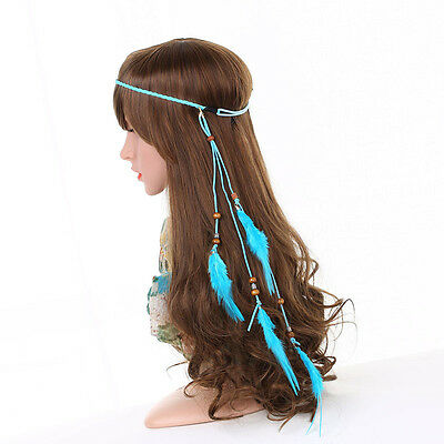 Bohemia Indian Gypsy Feather Hairband Beads Fancy Carnival Headpiece Rope