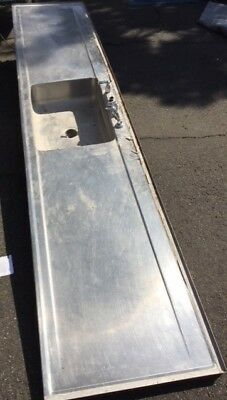 Stainless steel counter-top and sink, one piece, architectural salvage, 10 Foot