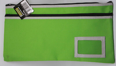 Osmer Pencil Case Green 350 x 180 mm 2 black zips with name insert LOT 2