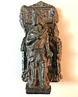 Vintage Door Knocker Ornate Black Cast Iron Colonial Revolutionary Soldier