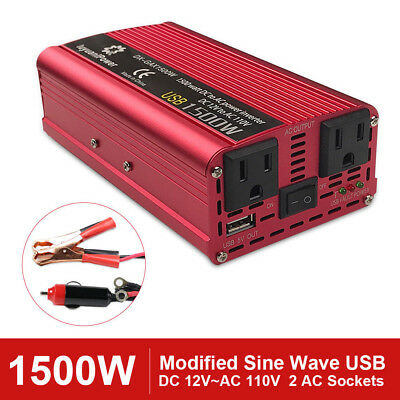2000W 1500W 1000W Car power inverter with USB 2 US Socket DC 12V to AC 110V 120V