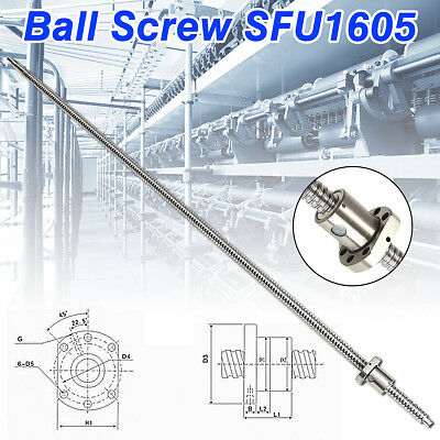 Ball Screw SFU1605 L1000mm End Machined Ballscrew + Single Ballnut Set for CNC