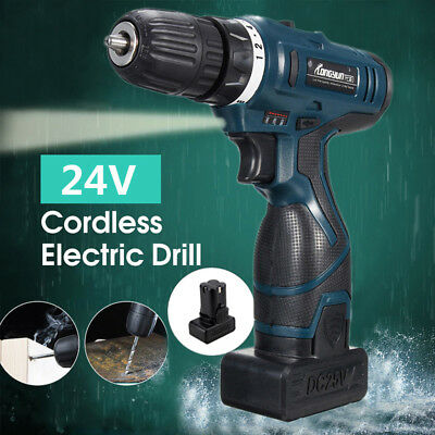 25V Li-Ion Cordless Electric Hammer Drill Driver Hand 2Speed LED Light W/Battery