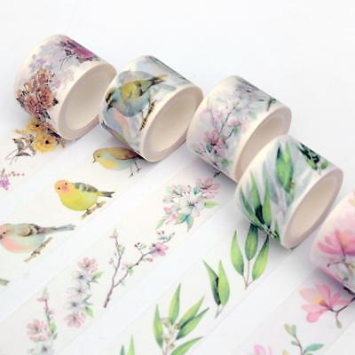 Vintage Washi Tape DIY Adhesive Scrapbooking Masking Decor Tapes Flowers/birds