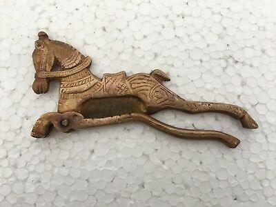 Old Brass Engraved Handcrafted Horse Figurine Betel Nut Cutter Sarota
