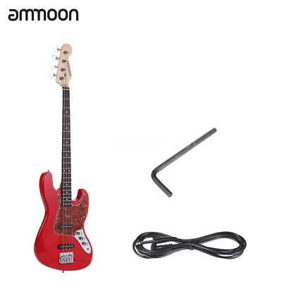 ammoon Electric Jazz Bass Guitar 4 String 24 Frets Basswood Body Red USA Stock