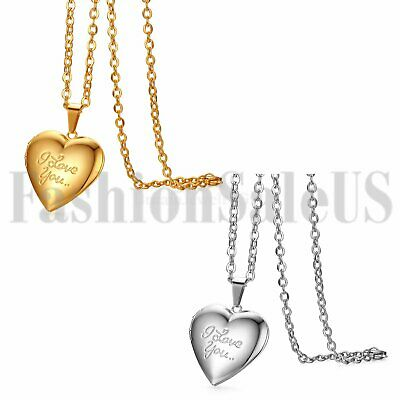 "Stainless Steel ""I Love You""Heart Locket Photo Pendant Mom Lovers Necklace Gift"