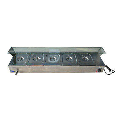 EU Edelstahl 5-Pan Steamer Bain-Marie Buffet Countertop Food Warmer Steam Table