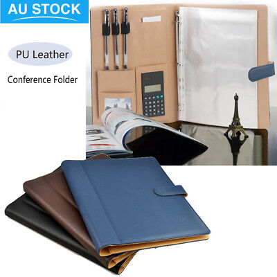 A4 Business Executive Conference Folder Portfolio PU Leather Document Organiser