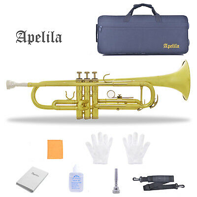 Apelila Music Instrument Trumpet Bb Brass Gold Lacquer Valve Beginner +Bag