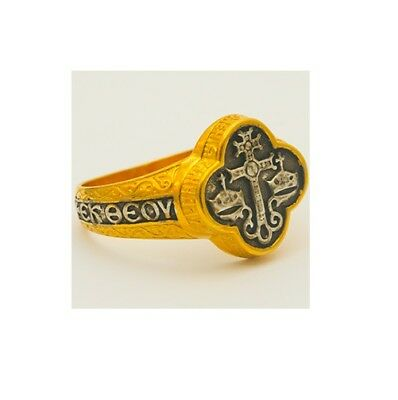 Byzantine Cross Orthodox Mount Athos Sterling Silver 925 Gold-Plated Ring