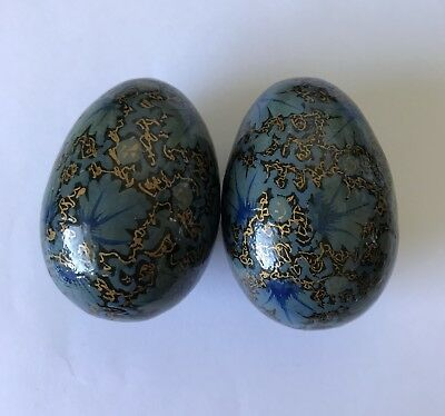 2x TEAL, BLUE & GOLD PATTERNED ORNAMENTAL EGGS