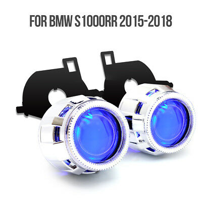 KT HID Projector Lens LED Angel Eye for BMW S1000RR 2015-2018 Blue Headlight