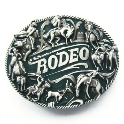 Rodeo Cowboy Theme - western brushed silver removable BELT BUCKLE - BP110