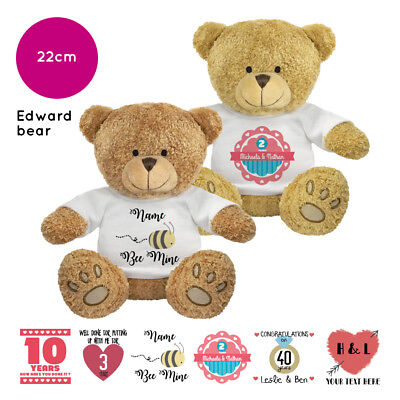 Personalised Name Edward Teddy Bear Anniversary Valentines Present Gift Gifts