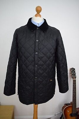 BARBOUR Black Liddesdale Heritage Quilted Jacket Mens Size Small 36 Coat