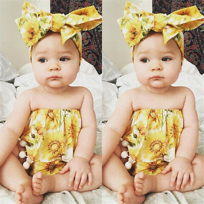 US Stock Toddler Kids Baby Girls Sunflower Tops Pants Shorts Headband Outfit Set