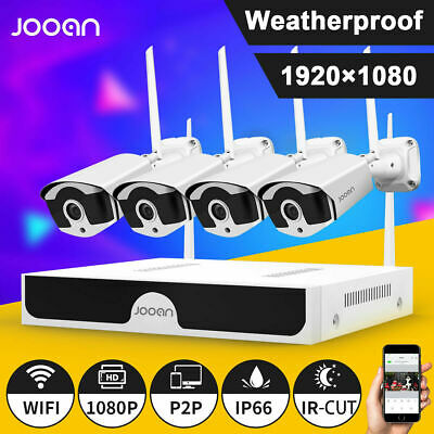 JOOAN 4CH Wireless 1080P HDMI NVR Outdoor Home WIFI Camera CCTV Security System