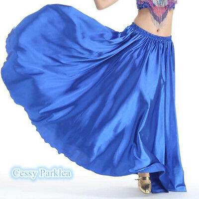 Belly Dance Bollywood Dancing Satin Full Circle Long Swing Skirt Dancing Costume