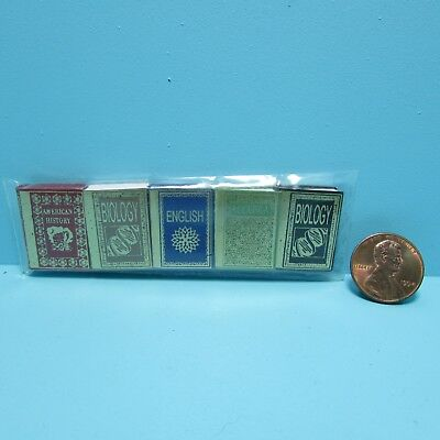 Dollhouse Miniature High School Text Book Set of 5 ~ NI192