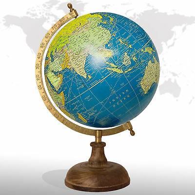 Rotating Globe Wooden Base Earth Round Geography Lab Education Floating Globes