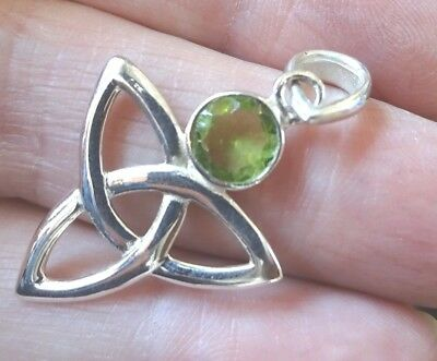 Superb Sterling Silver and Peridot Celtic Knot Pendant