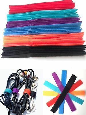 60x Colored Adjustable Nylon Hook Loop Reusable Cable Ties Strap Tidy Organiser